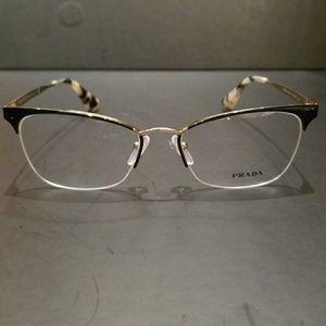 c0501e802da1 Prada Accessories - PRADA VPR 65Q QE3-1O1 Black Pale Gold Semi Rimless